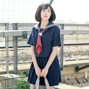 Japanese School Uniforms JK Sets Sailor Suits Preppy Chic Short-sleeved T-Shirt Pleated Skirts High School Girls Casual Clothing