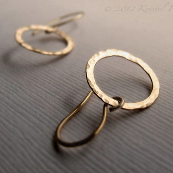 Circle Earrings - Dangle hoop earrings drop small circle hammered gold gift hammered silver 14k gold-filled or sterling simple modern