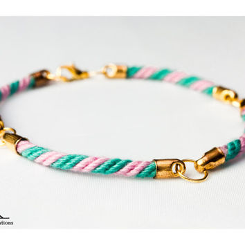 Four quarter nautical rope bracelet - Pink and turquoise