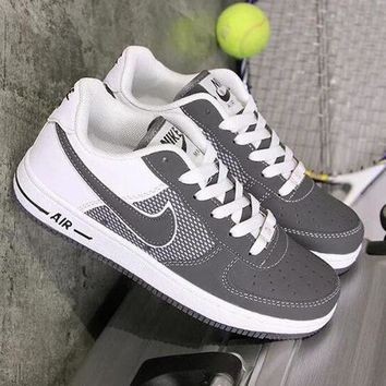 NIKE Air Force 1 Popular Women Men Running Sneakers Sport Shoes Grey I