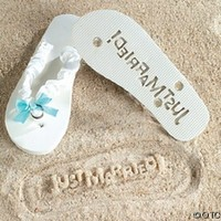 """Just Married"" Flip Flops Stamp Your Message in the Sand! (5/6):Amazon:Everything Else"