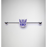 14 Gauge Purple Transformers Decepticon Industrial Barbell