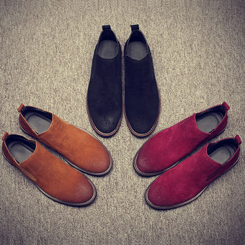 Vintage Real Suede Leather Men Boots Chelsea Boots for Casual Walking Leisure Fur Warm Winter Shoes Ankle Martins Fall Flats