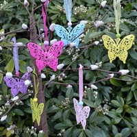 Six Spring Filigree Butterfly Decorations