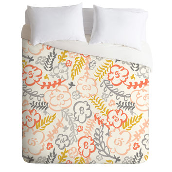 Heather Dutton Floral Brush Duvet Cover