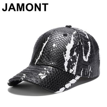 Trendy Winter Jacket Jamont Men Women Snakeskin PU Leather Baseball Cap Summer Autumn Adjustable Gorras Snapback Hats Hip Hop Casquette Golf Caps AT_92_12