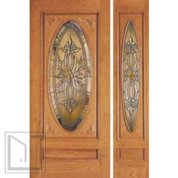 jeld-wen 402 Cherry carved Door and Sidelight Clear Finish