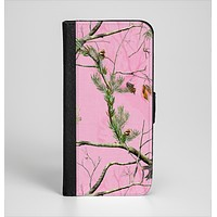 The Pink Real Camouflage Ink-Fuzed Leather Folding Wallet Case for the iPhone 6/6s, 6/6s Plus, 5/5s and 5c