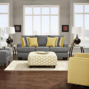 Fusion Maxwell Gray Sofa and Loveseat