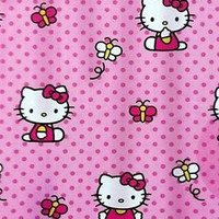 Kid's Hello Kitty Pink Polka Dots Fabric Shower Curtain With Cute Butterflies
