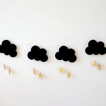 Black Gold Nursery Garland, Cloud Star Moon Garland, Gender Neutral Nursery Decor, baby room wall decor, Nursery Design Idea