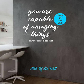 You are capable of amazing things Wall Decal  namaste Vinyl Sticker Art Decor Bedroom Design Mural living room modern