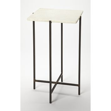 Nigella Square Marble & Metal Accent Table
