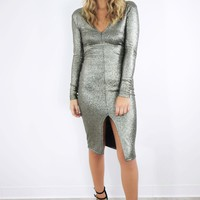 Exception To The Rule Metallic Dress