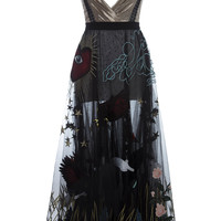 Deep V Embroidered Tea Length Dress | Moda Operandi