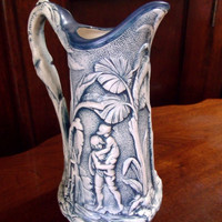 Antique Parian Pitcher 1850, Dark Blue Stippled Background Relief Paul & Virginia Parian Pitcher