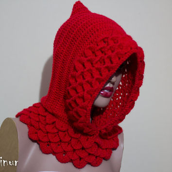 SALE, Little Red Riding Hood, Crocodile Hooded cowl , Crochet handmade , womens knit hats, dragon, hoodie