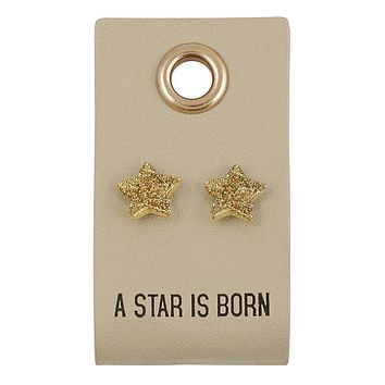 A Star Is Born Leather Tag Earrings