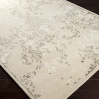 Banshee Area Rug | Off-White Medallion and Damasks Rugs Hand Tufted | Style BAN3331