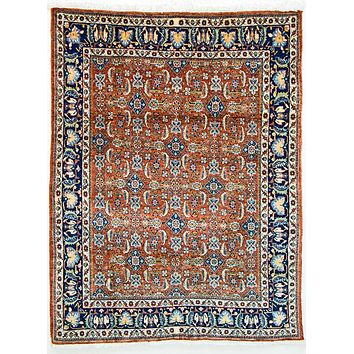 Oriental Tehran Tribal Persian Wool Rug, Orange/Blue