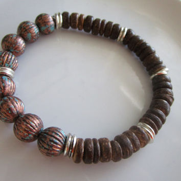 Men's brown and silver toned beaded bracelet - men's gift idea - bracelet men - beaded men's bracelet - gift men - brown wood bead bracelet