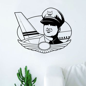 Pilot Wall Decal Sticker Vinyl Art Bedroom Room Home Decor Air Force Airplane US Army Teen