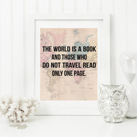 Travel Quote Wall Decor, Map Wall Art, Digital Wall Art