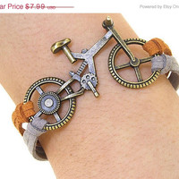 ON SALE Bike Bracelet, Bicycle Bracelet, Charm Bracelet,Bronze Bracelet,Leather bracelet Hand made