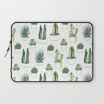 watercolour cacti and succulent Laptop Sleeve by Vicky Webb