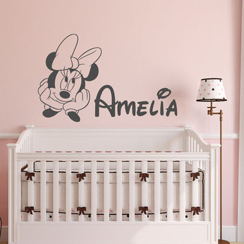 Minnie Mouse Name Wall Decal Girl- Personalized Baby Girl Wall Decals- Custom Name Wall Decal Kids Girls Room Decals Bedroom Wall Decor 139