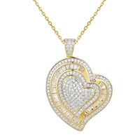 Hearts in Hearts Solitaire Love 14k Gold Finish Pendant Valentine's