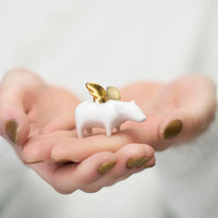 Piggy with gold wings, Ceramic Porcelain figurine, sweet minature animal