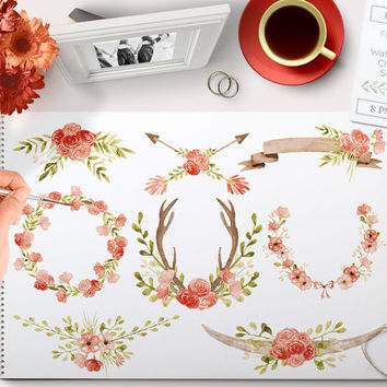 Watercolor Clipart Wreaths red poppy, Laurels, Banner, Flowers, Ampersand, Antlers, Horns, Arrow perfect for Floral wedding invitations