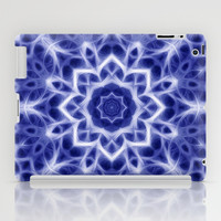 Blue and White Glowing Kaleidoscope Mandala iPad Case by Tigerlynx