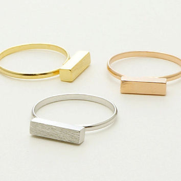 Rectangle Bar Ring, Minimal Contemporary Horizontal Bar Ring in 18k Gold Plated, Silver Plated or Rose Gold Plated