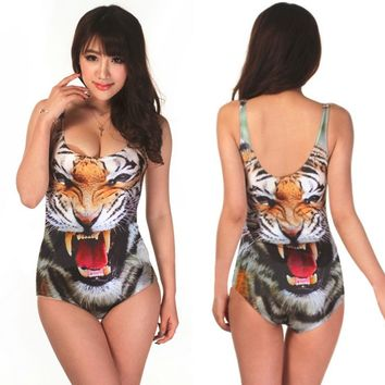Bikini Digital Print Girl's Swimwear Vest Digital Printing Cartoon Pattern Camisole Bikini Bodysuit free shipping