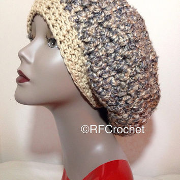 WARM | Adult Beanie | Thick | Brown and Gray Tweed | SOFT | Roomy | Unisex | Men | Women | Teen | Tam