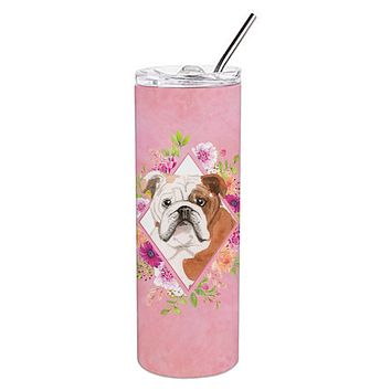 English Bulldog Pink Flowers Double Walled Stainless Steel 20 oz Skinny Tumbler CK4240TBL20