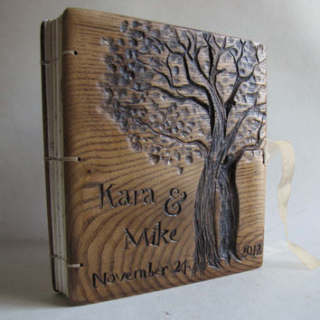 Personalized wedding guest books Custom made book Reclaimed wood Recycled paper