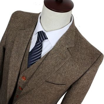 Brown Classic Tweed Custo Slim Fit Suit