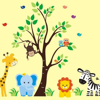"Jungle Wall Decals, Safari Wall Decals, Zoo Animal Stickers, Removable Nursery Decals, Nursery Art Mural, Kids Room Mural - 83"" x 97"""