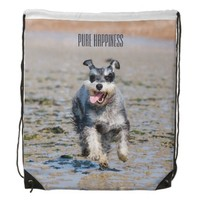 Pure Happiness Mini Schnauzer Drawstring Backpack