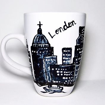 London England Mug - Hand Painted Long Distance Gift