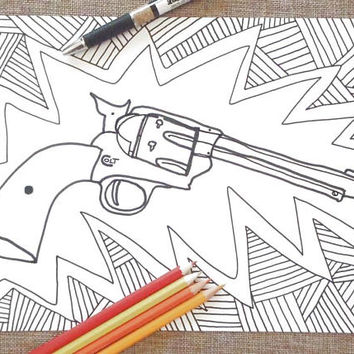 revolver colouring card dad gift colt far west gun weapon man men kids father day daddy colorin download colouring printable lasoffittadiste