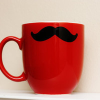 Mustache Mug  Red  Coffee Tea Latte by TheBeautifulHome on Etsy