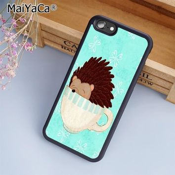 MaiYaCa Hedgehog Cute in Teacup Animal Art Phone Case Cover for iPhone 5 5s 6 6s 7 8 X XR XS max samsung galaxy S6 S7 S8 S9 Plus