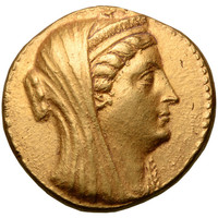 Ancient Egyptian Ptolemaic Gold Octadrachm Coin of Queen Arsinoe II