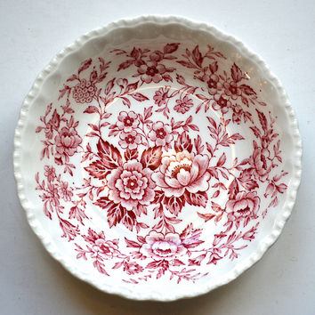 Vintage Pink / Red Floral Chintz Toile Roses Daisies Blue Bells English Transferware Candy Dish Berry Bowl