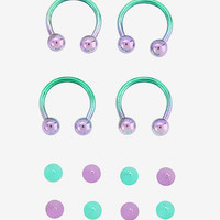 Steel Teal Purple Ombre Circular Barbell 4 Pack