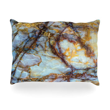 "KESS Original ""Opalized Marble"" Blue Brown Oblong Pillow"